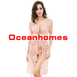 ff5792a54a65 China Oceanhome Sexy Sleepwear Set for Women Lace Long Dress Perspective  Nightgown Robe Set of 4 - China Sleepwear for Women Lace Lingerie Lingerie  Wom