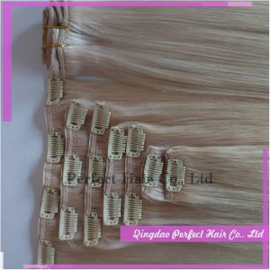 Top Quality Straight Real Human Hair Extensions Clip in pictures & photos