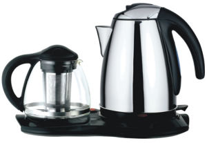 Stainless Steel Electric Kettle with Glass Teapot Set (HY-2073)