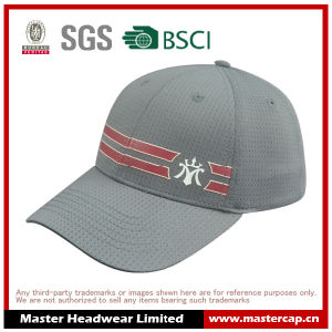 Polyester Mesh Fitted Cap with Rubber Printing on Front