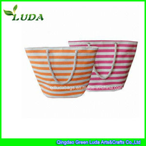 2015 Mixed Stripes Cotton Paper Straw Beach Bag