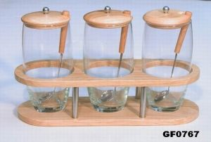 3pcs Glass Canister with Rubber Wood Stand (GF0767)