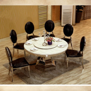 Awesome Modern Two Layer Stainless Steel Round Base Marble Round Dining Table With Black Velvet Chairs Pdpeps Interior Chair Design Pdpepsorg