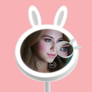 Yuegang Exquisitely Designed Brightness Adjustable Rabbit Makeup Mirror and Table Lamp 2 in 1 Combo Light Us EU Patents Registered