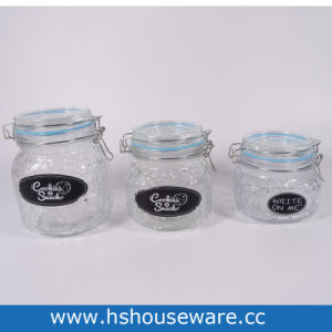 Set Of 3 Clear Air Gl Canister With Chalkboard Labels