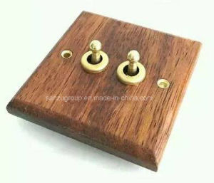 New Coming Indonesia Imported Merbau 2 Gang Wall Switch pictures & photos