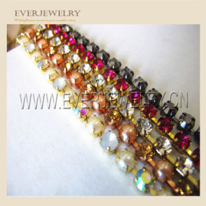 Decoration Colorful Rhinestone Strip Empty Glass Crystal Rhinestone Cup Chain/Wholesale pictures & photos