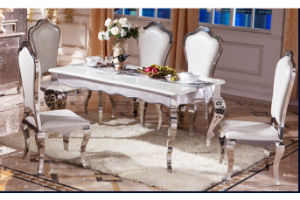 Modern Design Stainless Steel Dining Table Set With Gl