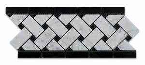 Carrara White Marble Border Line with Black Dots pictures & photos