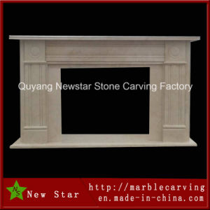 High Polished Yellow Natural Marble Fireplace Mantel pictures & photos