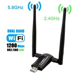 Ce Certification Dual Band 1200Mbps Realtek Rtl8812bu Antenna WiFi Adapter  WLAN Stick Wireless Dongle with 2PCS 5dBi External