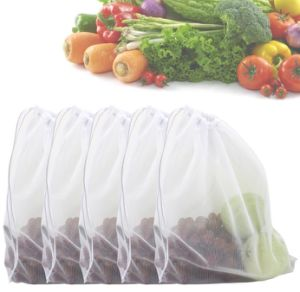 Premium Washable Eco Friendly Reusable Fruit Vegetable Grocery Mesh Produce Bags