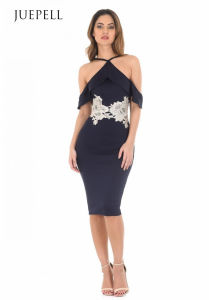 Navy Strappy MIDI Bodycon Dress pictures & photos