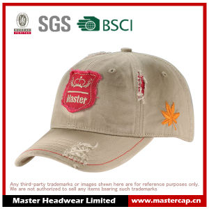 Tattered Wash Cotton Cap with Applique Embroidery