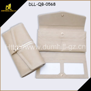 Trifold PU Leather Long Lady Wallet (beige)