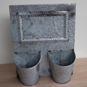 Antique Iron Backboard Two Buckets for House Decoration
