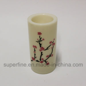 Imitation Flickering LED Plastic Pillar Candle with Plum Blossom Pattern Printed pictures & photos
