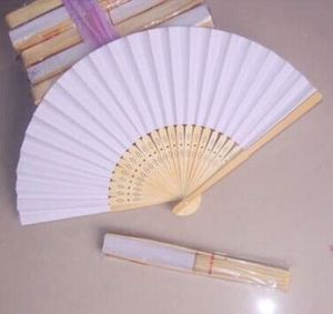 Wholesale Cheap White Bamboo Paper Hand Fan