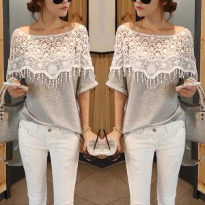 Casual Cotton Lace Blouse Short Sleeve Shirt T-Shirt Summer Tops