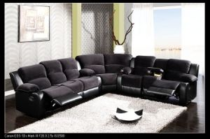 Whole Furniture Leather L Shape Suede Fabric Recliner Sectional Sofa