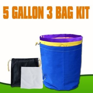 Hydroponics Nylon 5 Gallon 3 Bags Set Bubble Hash Bag With Extended Mesh Sidewall