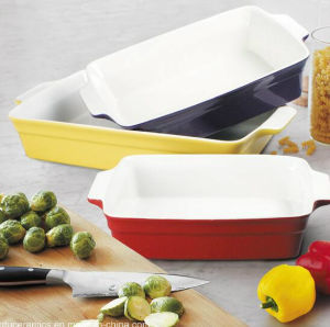 Green Color Glazed Ceramic Bakeware Pan