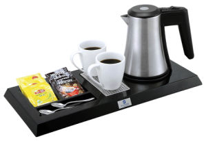 Hotel Plastic Welcome Tray with Stainless Steel Kettle Set pictures & photos