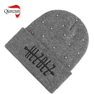 f17697957c3 China Grey Silver Studded Knitted Folded Beanie Hat New Grey - China ...