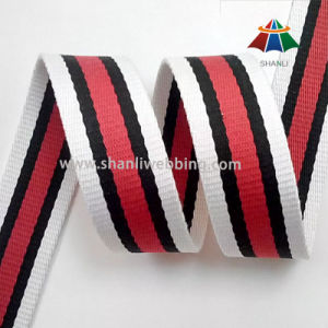 "1-1/2"" Inch Red Black White Striped Cotton Polyester Webbing"
