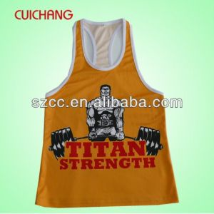 Wholesale Polyester Heat Transfer Printing Custom Design Sports Wear Women Gym Singlet Bx-019