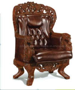 wholesale dealer da089 62322 Brown Genuine Leather Throne Chairs with Wooden Frame (A-065)