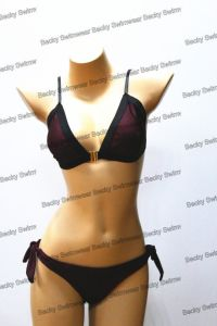 Sexy Ladies Shining Fabric Bikini with Elastic Binding