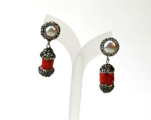 Casual Red Coral Pearl Jewelry Earrings Earring for Lady