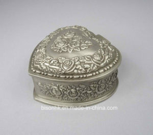 China Antique Pewter Jewelry Box Heart Shape Antique Jewelry Box