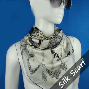 Digital Print Silk Handkerchief for Lady