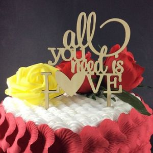 Wholesale Custom Happy Birthday Wood Cake Toppers Party Supplies