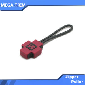 Red Rubber Plastic Zipper Pull with Black Cord pictures & photos