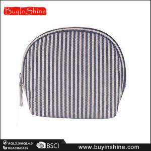 Two-Tone Striped Canvas Lady Clutch Purse