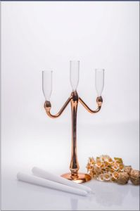 Golden Color Glass Candle Holder for Wedding Decoration with Three Poster pictures & photos