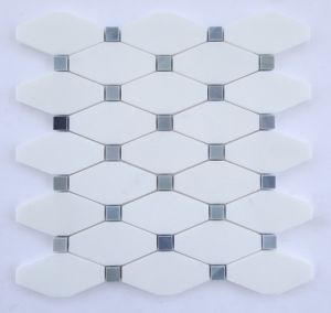 Decorative White Thassos Long Octagon Mosaic Tiles pictures & photos