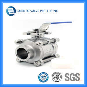 DIN SMS Sanitary Stainless Steel Three Pieces Ball Valve