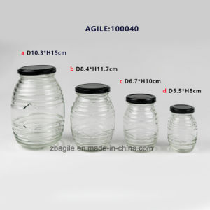 Glassware Glass Storage Bottle Jar with Metal Lid