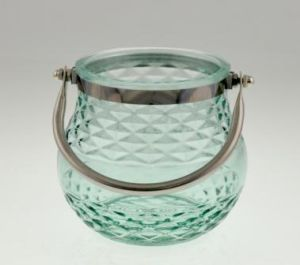 New Design Glass Candle Holder with Handle for Spring pictures & photos