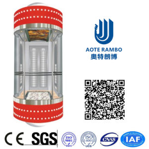 400kg-1600kg Round Hard Glass Gearless Panoramic Elevator Without Machine Room (G02) pictures & photos