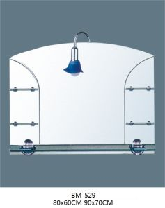 Glass Silver Mirror with Shelf with Lamp
