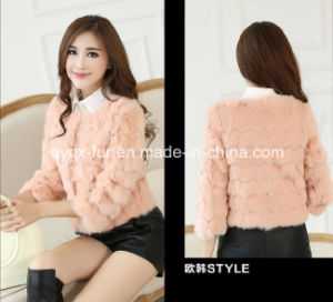 Women′s 100% Rabbit Fur Short Coat Sweet and Simple Style