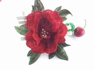 Hot Sale Big Size Red Flower Applique for Clothes pictures & photos