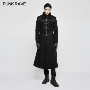 Y 777 Theater Leather Patch Work Strapped Winter Gothic Men Long Winter Coats