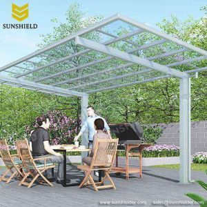 China Heat Resisting Polycarbonate Barbecue Grill Awning Aluminum Patio Cover Curved