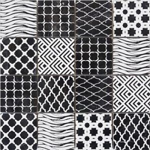 Marble Mosaic Tiles Engrave Mosaic Tiles Background Wall Tiles Black Nature  Stone Chip Size 73mm*73mm